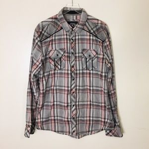 Buckle Black Athletic Fit Button Snap Shirt. XL